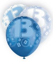 Blue Glitz Age 13 Latex Balloons (6)